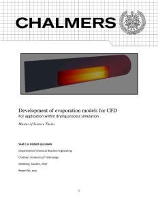 Development of evaporation models for CFD