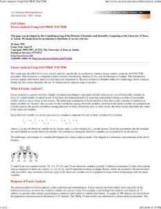 Factor Analysis Using SAS