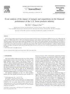 Event analysis of the impact of mergers and acquisitions on the financial