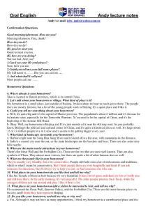 雅思口语第一阶段问题与答案