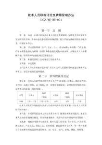 电气公司技术人员职等评定及聘用管理办法
