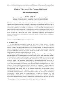 2012年5月 A Study of Third-party Online Payment Risk Control