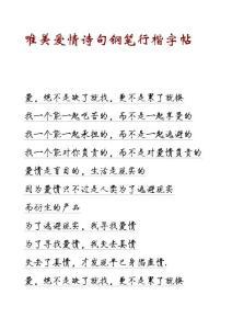 唯美爱情诗句钢笔行楷字帖【高清版】