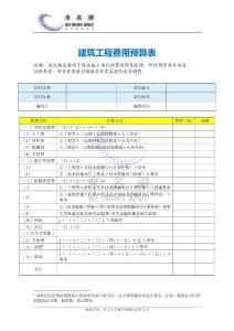建筑工程费用预算表