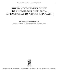 The random walk´s guide to anomalous diffusion a fractional dynamics approach