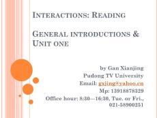 高级英语阅读1 intro   Unit 1