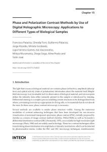 Phase and polarization contrast methods by use of digital holographic microscopy applications to different types of biological samples