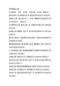 深圳福田幼儿园名单
