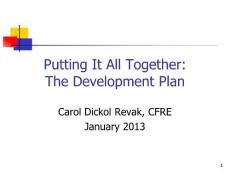 Putting it all Together The Development Plan