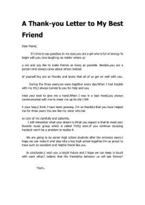 A Thank-you Letter to My Best Friend