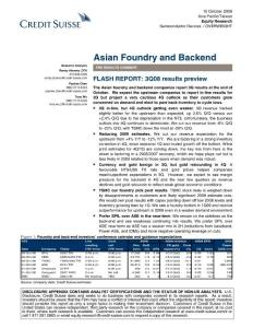 ASIAN FOUNDRY AND BACKEND - FLASH REPORT 3Q08 RESULTS PREVIEW 0810