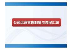公司运营管理制度与流程汇编80