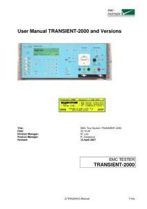 User Manual TRANSIENT-2000 and Versions - ...用户手册transient-2000和版本-...