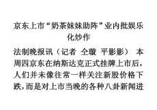"""京东上市""""奶茶妹妹助阵""""业内批娱乐化炒作"""