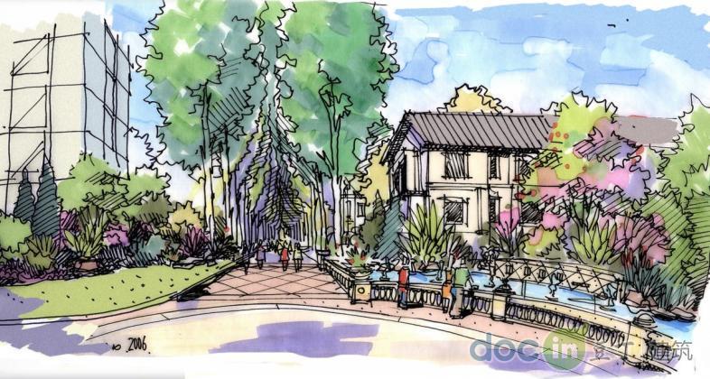 方案住宅小区园林景观手绘效果图-爱学网-学习路上 有