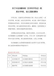 (2015版)长安镇民办教育持有《办学许可证》中小学校 幼儿
