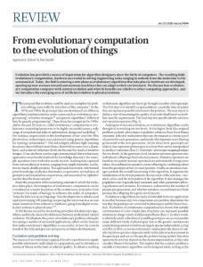 [PDF] From evolutionary computation to the evolution of things