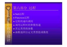 Visual Basic程序設計實訓教程 教學課件 ppt 作者 陸劍鋒 主編 俞偉新 顏忠勝 副主編 ch06  過程