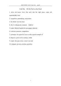 新编英语教程5 词汇(A NEW ENGLISH COURSE5: Unit1-10vocabulary)