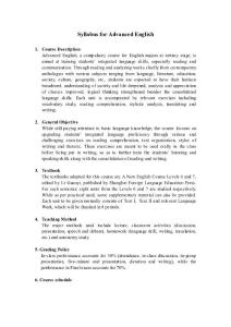 Syllabus for Advanced English(学习资料)