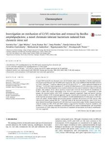 Investigation on mechanism of Cr(VI) reduction and removal by Bacillus amyloliquefaciens  a novel chromate tolerant bacterium isolated from chromite mine soil