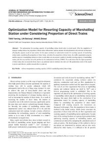 Optimization Model for Resorting Capacity of Marshalling Station under Considering Proportion of Direct Trains