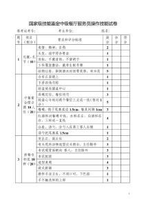 中级餐厅服务员操作技能考核评分记录表