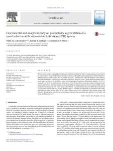 Experimental and analytical study on productivity augmentation of a novel solar humidification-dehumidification (HDH) system