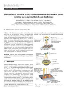 Reduction of residual stress and deformation in electron beam welding by using multiple beam technique