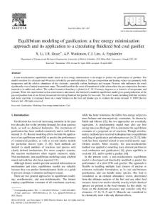Equilibrium modeling of gasification a free energy minimization approach and its application to a circulating fluidized bed coal gasifier