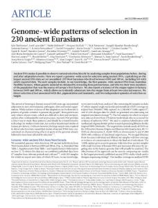 nature16152-Genome-wide patterns of selection in 230 ancient Eurasians