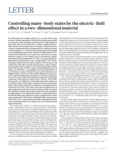 nature16175-Controlling many-body states by the electric-field effect in a two-dimensional material