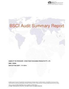 BSCI Audit Summary Report - Kong Fung