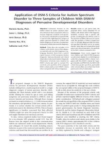 Application of DSM-5 Criteria for Autism Spectrum Disorder to...