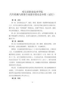 哈尔滨职业技术学院汽车检测与维修专业指导委员会章程(试行)