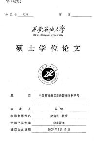 中国石油集团财务管理体制研究
