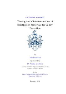 Testing and Characterisation of Scintillator Materials for x-ray detector