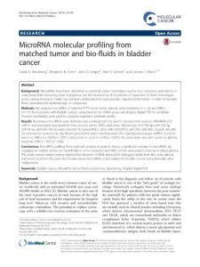 MicroRNA molecular profiling from matched tumor and bio-fluids in bladder cancer