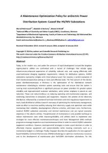 A Maintenance Optimization Policy for an Electric Power Distribution System