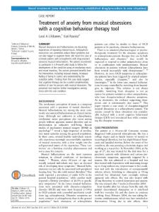 treatment of anxiety from musical obsessions with a cognitive those behaviour therapy tool