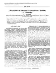 Effect of helical magnetic fields on plasma stability in tokamaks