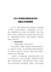 市统计局党支部书记2015年党建工作述职报告