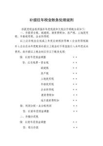 补提往年税金账务处理规则