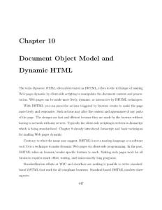 Chapter 10 Document Object Model and Dynamic HTML