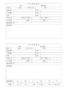 人脉资源管理表(个人详细资料表格)