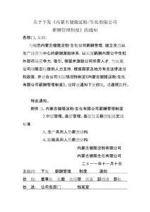 内蒙古健隆淀粉生化有限公司薪酬管理制度