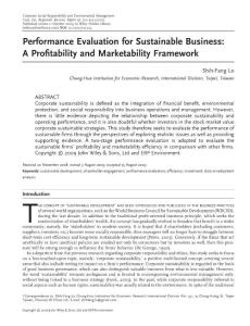 performance evaluation for sustainable business a profitability and marketability framework