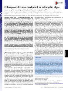 PNAS-2016-Chloroplast division checkpoint in eukaryotic algae