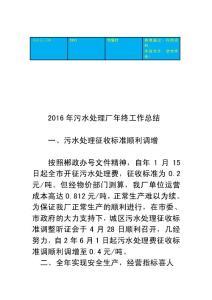 (新编)2016年污水处理厂年终工作总结