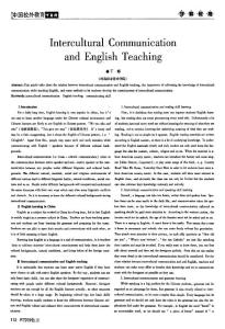 Intercultural Communication and English Teaching